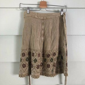 One Size SHORELINE Tan Wrap Skirt Embroidered Tan